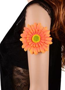 neon-orange-floral-bracelet