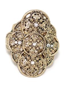 Image of Dichiarazione donna anelli anelli di bronzo metallo fiore