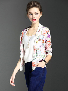Notched Neckline Print Floral Print Mini Jacket