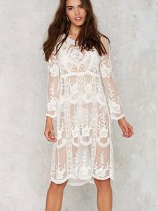 Bijou blanc cou dentelle manches longues robe tunique