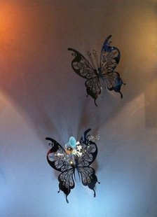 Image of Adesivi murali farfalla d'argento 3D tagliato fuori matrimonio bomboniera 10 insiemi
