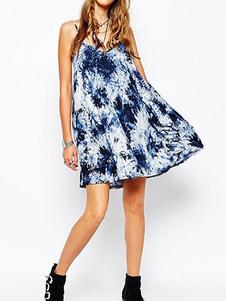 Image of Prendisole donna blu girocollo Slim Fit blu estate abito