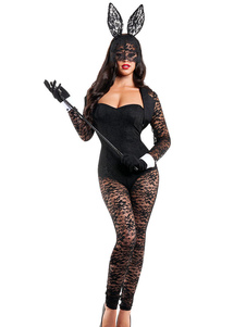 halloween-sexy-bunny-costumes-black-laced-polyester-uniforms