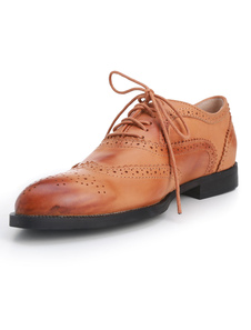 Image of Luce Tan mandorla Toe Lace Up Dress Shoes