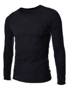 Felpa in maglia maglione Slim nero per uomo Basic