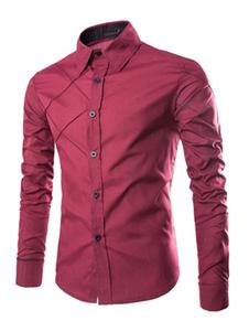 Image of Camicia Uomo 2019 Casual Camicia A Maniche Lunghe Slim Fit Model