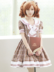 light-brown-red-gingham-cotton-lolita-one-piece-dress-high-waist-short-sleeves-college-school-style