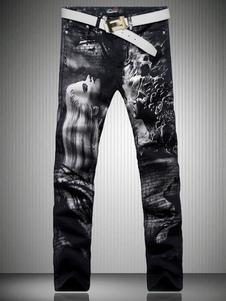 black-patterned-straight-jeans-punk-biker-pants-for-men