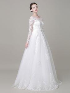 Image of Sposa a-line abito piano lunghezza maniche lunghe Pizzo Perline Abito da sposa