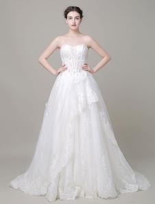 Image of Abito da sposa a-line perline pizzo Applique Corte treno abito da sposa