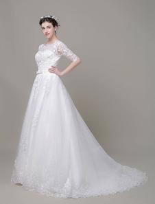Image of Sposa a-line gioiello perline Bow Corte treno nuziale abito in pizzo