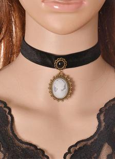 Image of Collana girocollo pendente vintage in choker con stampa gemma nera