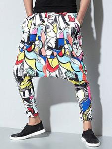 Image of Pantalone Harem da uomo Stampa artistica Gambaletto Gambaletto con cavallo basso Pant