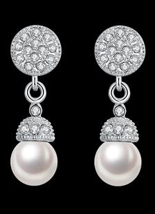 Image of Orecchini da sposa nozze d'argento orecchini strass perle