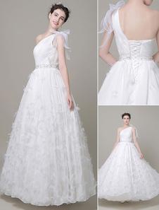 Image of Pavimento-lunghezza nozze vestito farfalla-Line Tulle One-spalla Abito da sposa con fascia strass Milanoo