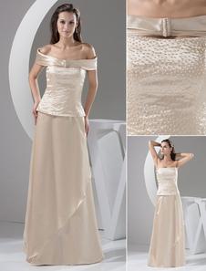 Champagne madre de la novia vestido sin tirantes rebordear gasa vestido de boda vestido de fiesta con abrigo desmontable Milanoo