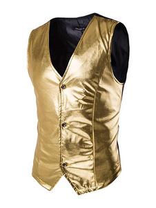 Americanas blazer casual hombre 2018 chaqueta oro metálico sin mangas