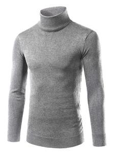 Image of Pullover maglione rotolo collo a maglia base uomo nero/Bordeaux/Grigio Slim Fit