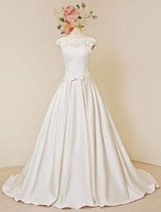 Image of Pizzo da sposa vestito lusso aperto posteriore Cap maniche cappella treno abito da sposa a-line con fiore staccabile