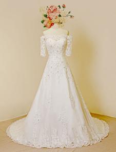 -Vestido de boda vestido encaje mangas media cariño capilla tren tul rebordear vestido de novia