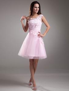 Image of Pizzo Cocktail Abito monospalla corto Prom Dress Rosa Tulle Part