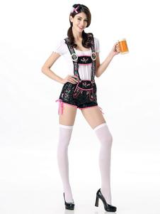 Bière de Sexy Girl Costume noir robe de fille de bière féminin Plaid Halloween