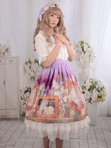 Sweet Lolita Dresses chats Vintage White Lace Floral impression longtemps Milanoo mignonne Lolita jupe à volants