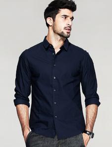 Image of Manica lunga Royal blu camicia uomo Shaping camicia Casual cotone