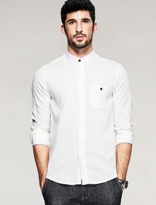 Image of Camicia bianca manica lunga Stand colletto camicia cotone