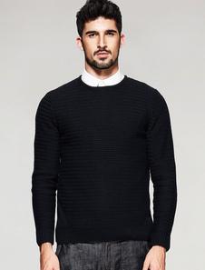 Image of Maglia girocollo a manica lunga maglione uomo maglia nera
