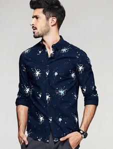 Algodón camiseta de manga larga Floral impresión cobertura de los hombres cuello camisa Casual azul