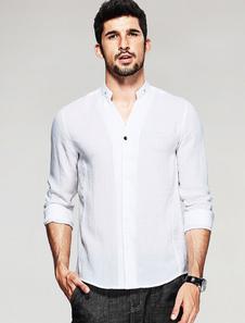 Camicia bianca manica lunga supporto colletto uomo della camicia Casual con pulsanti di modellatura