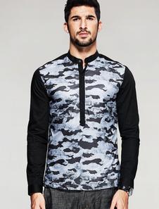 Camuffamento nero camicia manica lunga Stand colletto camicia di cotone uomo Casual