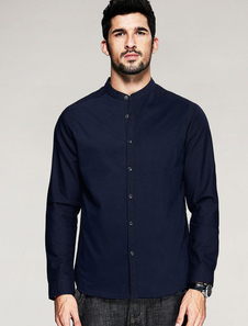 Manica lunga Chic blu profondo Stand camicia uomo colletto della camicia di cotone con bottoni