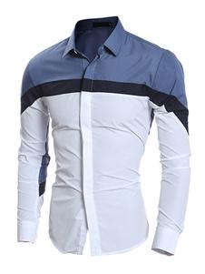 Camicia due tono Stand collare Casual camicia cotone uomo con pulsante