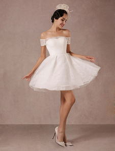Image of Abito da sposa corto pizzo fuori il Mini abito Vintage Abito da sposa