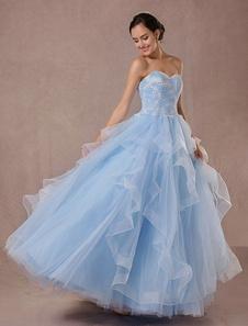 Blu Abito da sposa Tulle palla abito pizzo Applique senza spalline bordare principessa sposa abito scollato abito corteo vestito