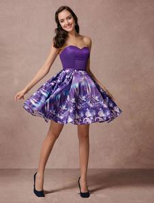 Stampato corto Prom abito senza spalline Homecoming Abito scollato in Raso Abito da Cocktail