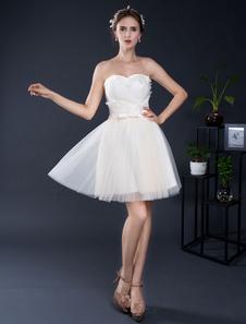 Image of Senza spalline Mini pizzo Applique Sweetheart breve nuziale abito da sposa illusione Backless Abito da Homecoming