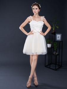 Image of Pizzo da sposa abito corto in Tulle spalline Sweetheart Mini Abito da sposa abito volant maniche Dress Homecoming