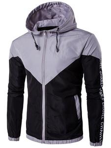 Image of Leggera giacca con cappuccio due tono manica lunga cerniera giacca a vento giacca con stampa lettere