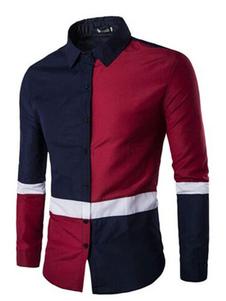 Image of CAMICIA Casual colore blocco manica lunga collo Turndown pulsante Camicia Slim uomo