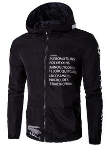 Image of Lampo giacca a vento giacca maschile lettere stampate Casual con cappuccio giacca nera