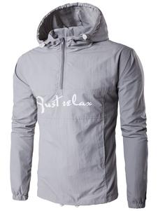 Image of Lettere stampa manica lunga cerniera giacca leggera giacca a vento con cappuccio giacca maschile In grigio
