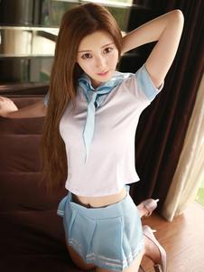 Image of Sexy School Girl Costume Mini gonna bianco donne con camicia Skinny impostato In 3 pezzi Carnevale