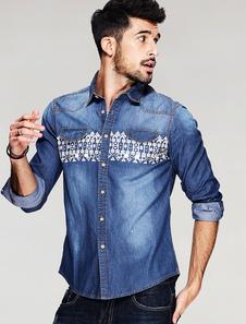 Image of Denim camicia blu Turndown collo manica lunga uomo camicia di stampa