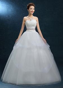 Image of Principessa Abito da sposa abito da Comunione in Organza senza spalline Abito da sposa Sash Backless Abito da sposa avorio