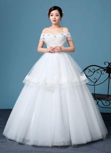 Image of Sposa di Off-The-spalla abito principessa manica corta Lace Up Abito da sposa fiore perline pavimento-lunghezza abito da sposa