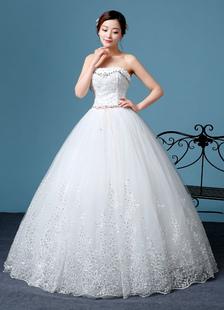 Image of Principessa Abito da sposa senza spalline in pizzo ricamato perline abito da sposa scollato piano lunghezza abito da sposa