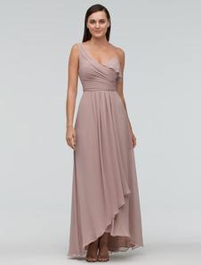 Image of Blush damigella d'onore abito in Chiffon Maxi abito monospalla asimmetrica abito da sera di nozze